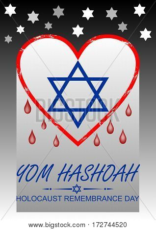 Holocaust remembrance day hebrew text yom hashoah. Flyer with bleeding heart and David star symbol.