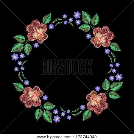 Vintage embroidery wreath with viola forget me not. Vector fashion ornament on black background for textile, fabric traditional folk decoration.