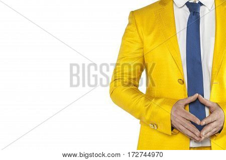 Peace Emanates From A Businessman, A Gold Suit, White Background