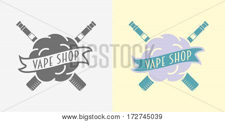 Vape shop badge, logo or symbol design concept for e-cigarettes store advertising. Color and monochrome