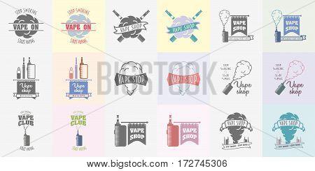 Set of vape shop and e-cigarette logos, symbols or labels templates. Color and monochrome