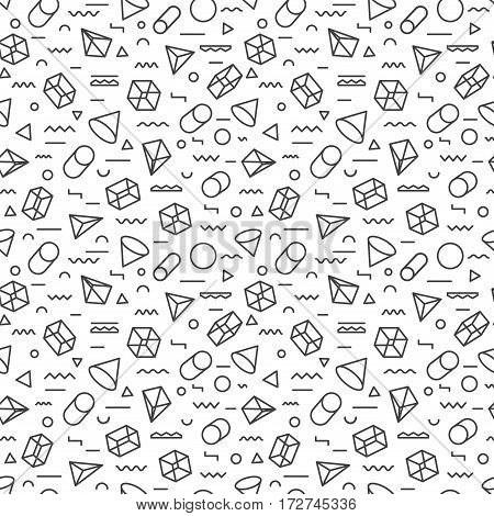 Geometric pattern seamless modern stroke style consisting of line geometric shapes on white background for use on stickers, banners, cards. Geometric pattern hipster memphis style. Vector Illustration