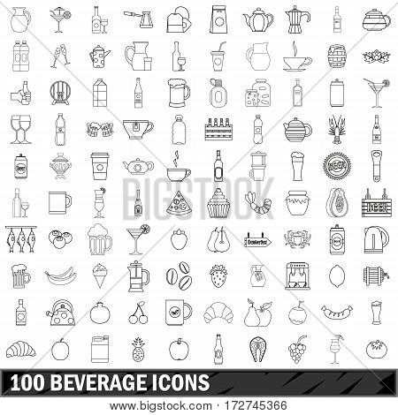 100 beverage icons set in outline style for any design vector illustration