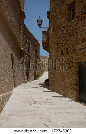 Empty steet of the citadel of Victoria Gozo