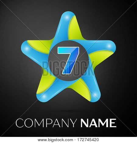 Number seven vector logo symbol in the colorful star on black background. Vector template for your design