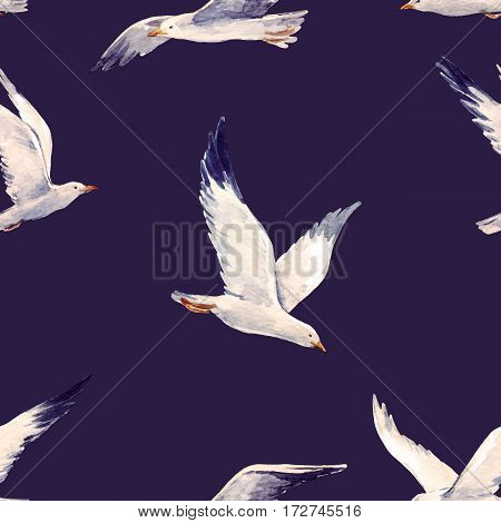 Beautiful vector pattern with nice watercolor hand drawn seagulls