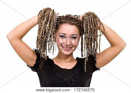 Portrait of young smiling woman with dreadlocks isolated on white background