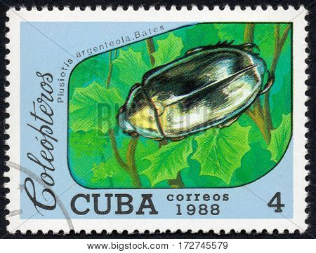 UKRAINE - CIRCA 2017: A stamp printed in Cuba shows beetle Plusiotis argenteola. Bates the series Coleoptera circa 1988