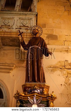 Religious Statue at Fontana Gozo Malta erected to celebrate the destival of Jesus of the Sacred Heart