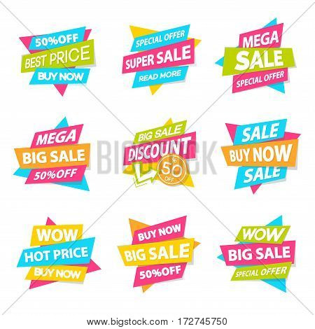 Set of discount sticker special offer, advertisement tag, sale, big sale, mega sale, hot price, discount poster isolated on white background. Vector Illustration