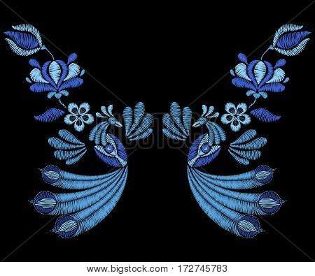 Embroidery with peacock birds, spring flowers. Necklace for fabric, textile floral print. Fashion design for girl wear decoration. Tradition ornamental pattern.