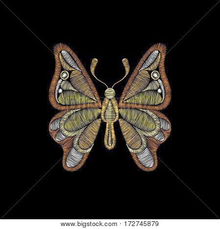 Embroidery with golden butterfly. Template for fabric, textile floral print. Fashion design for decoration. Vector illustration on black background.