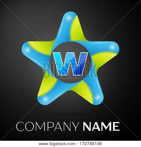 Letter W vector logo symbol in the colorful star on black background. Vector template for your design