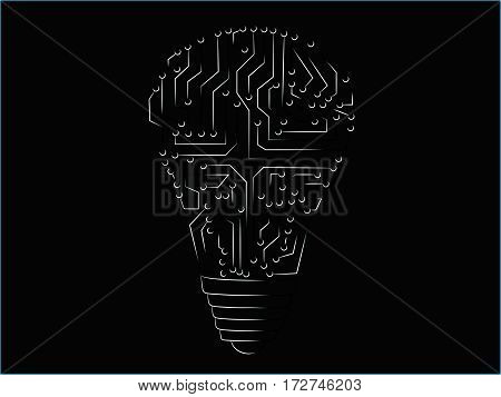 lightbulb made of electronic circuits with black & white blend
