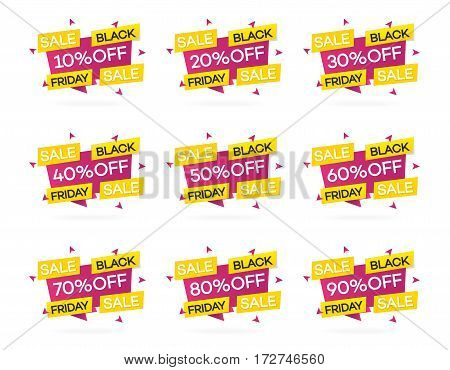 Set of black friday sale banners with different a discount for your web site. Super sale. Vector Illustration
