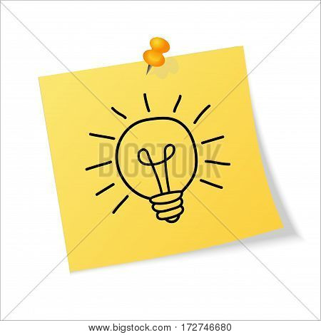 Yellow sticker pinned push button with curled corner and hand draw lightbulb isolated on white background. Idea concept. Vector illustration