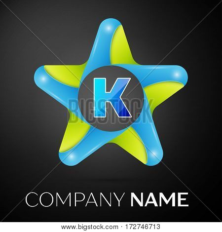 Letter K vector logo symbol in the colorful star on black background. Vector template for your design