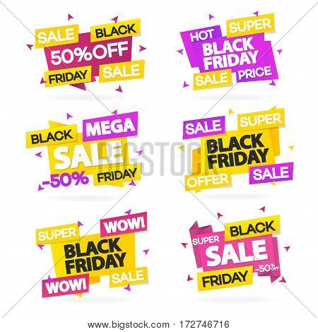 Set of black friday sale banners with different sign such as hot price, super sale, super offer and wow. Vector Illustration