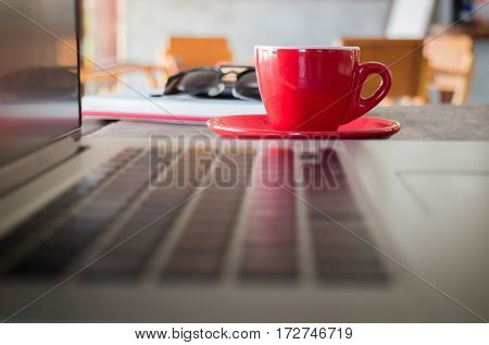 Hot espresso on working table stock photo