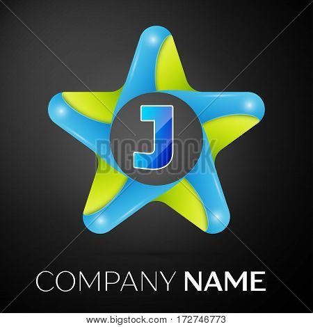 Letter J vector logo symbol in the colorful star on black background. Vector template for your design