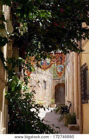 Street scene at Fontana Malta Gozo during the festival of Jesus of the Sacred Heart