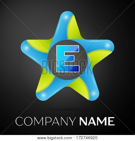 Letter E vector logo symbol in the colorful star on black background. Vector template for your design