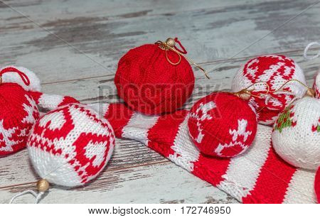 Christmas Balls Hand Knitted Close-up Group