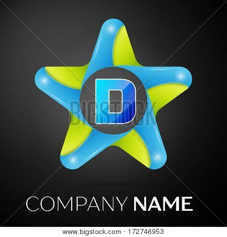Letter D vector logo symbol in the colorful star on black background. Vector template for your design