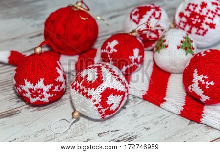 Christmas Balls Hand Knitted Close-up