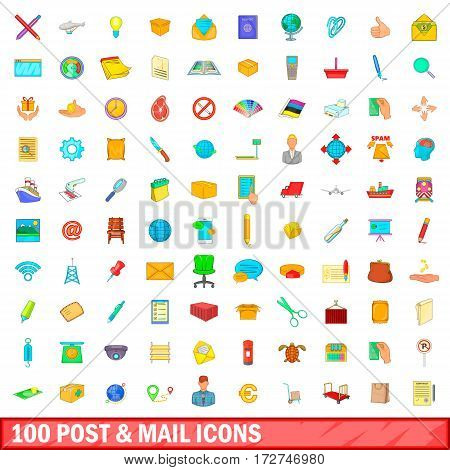 100 post and mail icons set in cartoon style for any design vector illustration