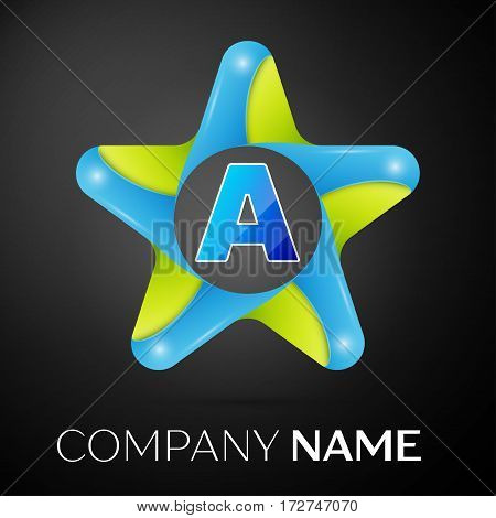 Letter A vector logo symbol in the colorful star on black background. Vector template for your design