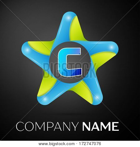 Letter C vector logo symbol in the colorful star on black background. Vector template for your design