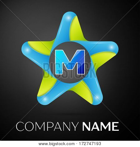 Letter M vector logo symbol in the colorful star on black background. Vector template for your design