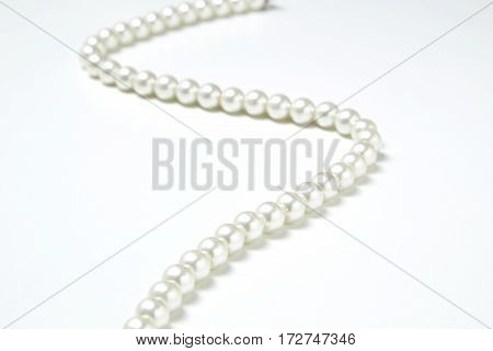jewelry White pearls collier on white background