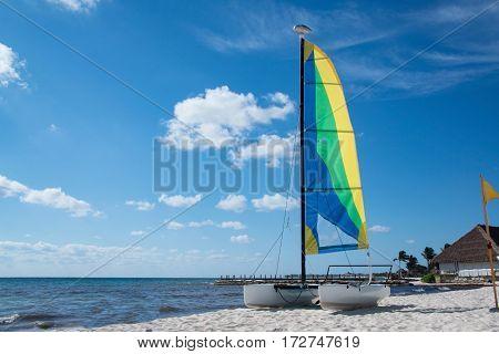 Sailboat catamaran with colorful sail on sandy beach