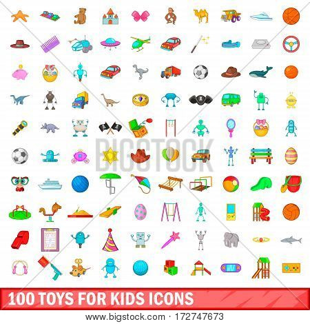 100 toys for kids icons set in cartoon style for any design vector illustration