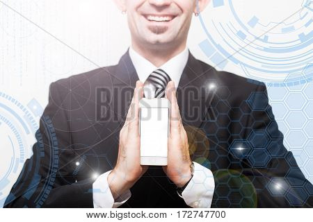 World Business concept Businessman with cell phone displaying hologram. Concept of digital screenvirtual connection icondiagram graph interfaces
