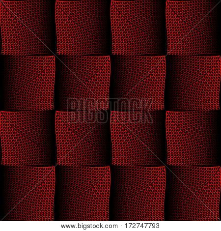 Red and black halftone square design with optical spatial effect background in opart style. Optical art wallpaper.