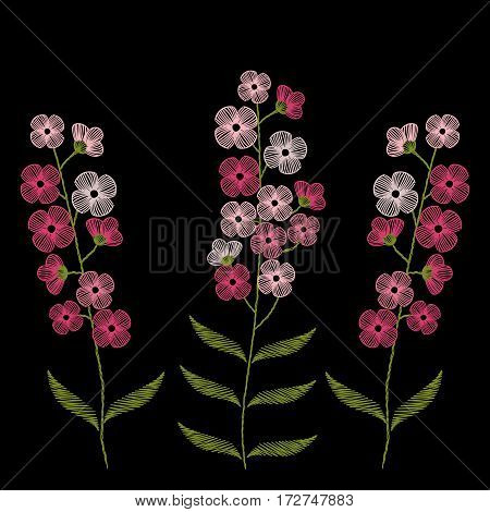Vintage embroidery stitches with spring pink flowers forget me not for decor. Vector fashion ornament on black background for textile, fabric traditional folk floral decoration.
