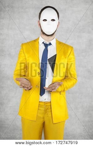 Businessman In A Gold Suit, Pretending That Hi Did Not Receive Bribes