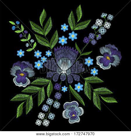 Embroidery with violets, forget me not flowers. Vector fashion ornament on black background for textile, fabric traditional floral decoration.