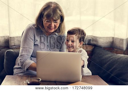 Grandmother Grandson Family Laptop Digital