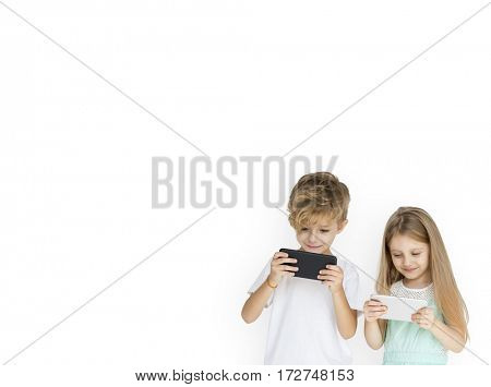 Young Kids Playing Mobile Phone