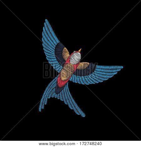 Embroidery stitches with swallow bird. Vector fashion ornament for textile, fabric traditional folk  decoration.