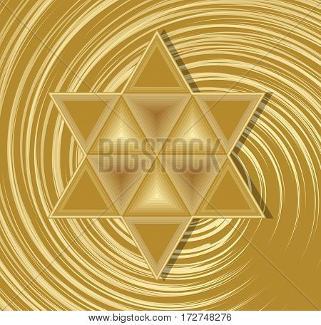 Golden David star on abstract swirl background. Elegant symbol of jewish nation and culture. Religion element in judaism.