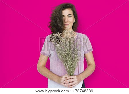 Woman Smiling Happiness Flower Portrait Concept