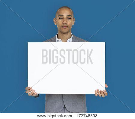 Businessman Holding Placard Copy Space Concept