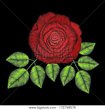 Embroidery stitches with rose flowers, fashion fabric, textile floral print. Design for girl wearing decoration. Ornamental pattern.