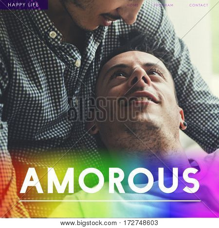 Gay Couple Amorous Enamored Forever