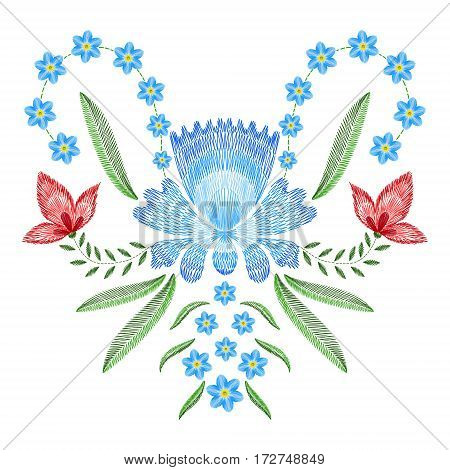 Embroidery stitches with spring flowers forget me not. Vector fashion ornament on white background for textile, fabric traditional folk floraldecoration.